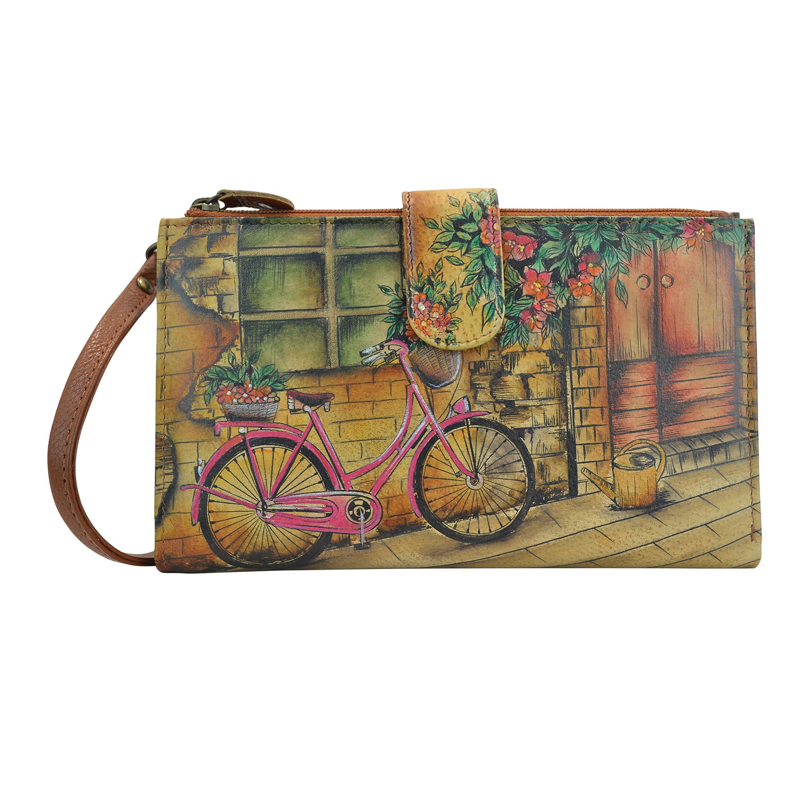 Anuschka Handpainted Leather Large Smartphonecase & Wallet-vintage Bike Wallet, VINTAGE BIKE, One Size