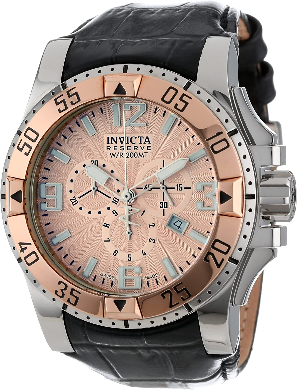Invicta Men s 10901 Excursion Reserve Chronograph Rose Gold Tone Textured Dial Black Leather Watch