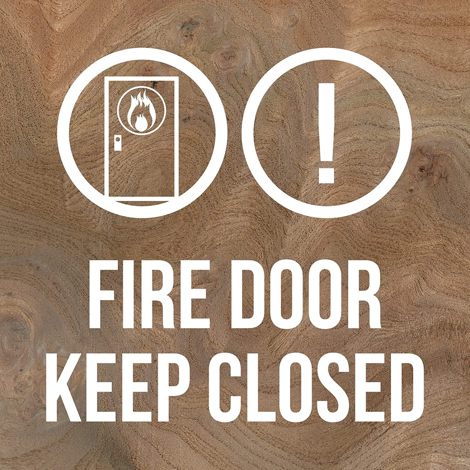 iCandy Products Inc Fire Door Keep Closed! Hotel Business Office Building Sign 12x12 Inches, Elm Burl, Plastic