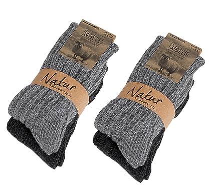 Brubaker Calcetines de cachemira - Set de 4 pares - 48% lana de oveja y 40% cachemira - Muy gruesa y cálida - Unisexe: Amazon.es: Ropa y accesorios