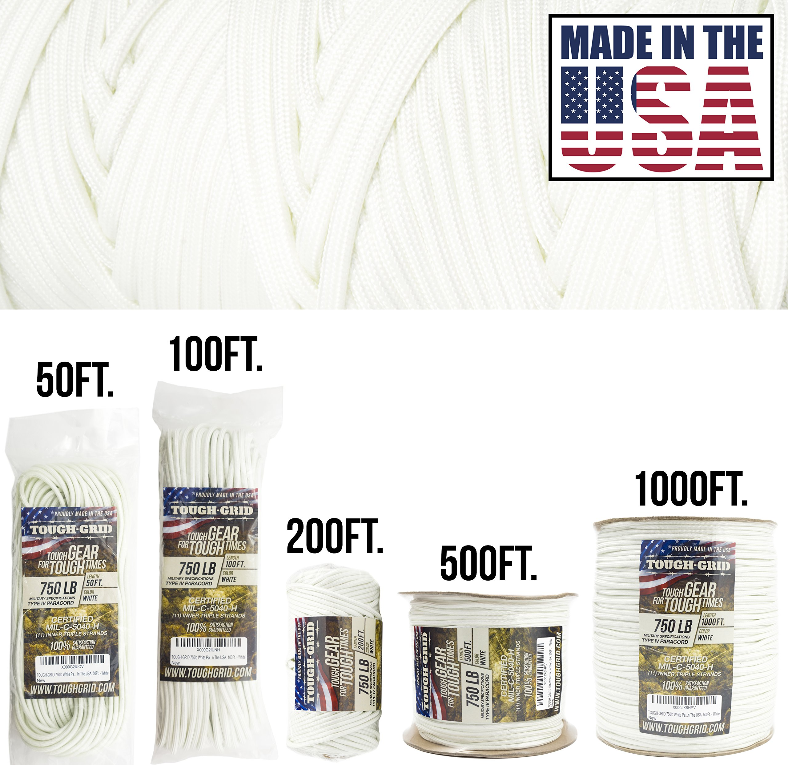 TOUGH-GRID 750lb White Paracord/Parachute Cord - Genuine Mil Spec Type IV 750lb Paracord Used by The US Military (MIl-C-5040-H) - 100% Nylon - Made in The USA. 500Ft. - White by TOUGH-GRID