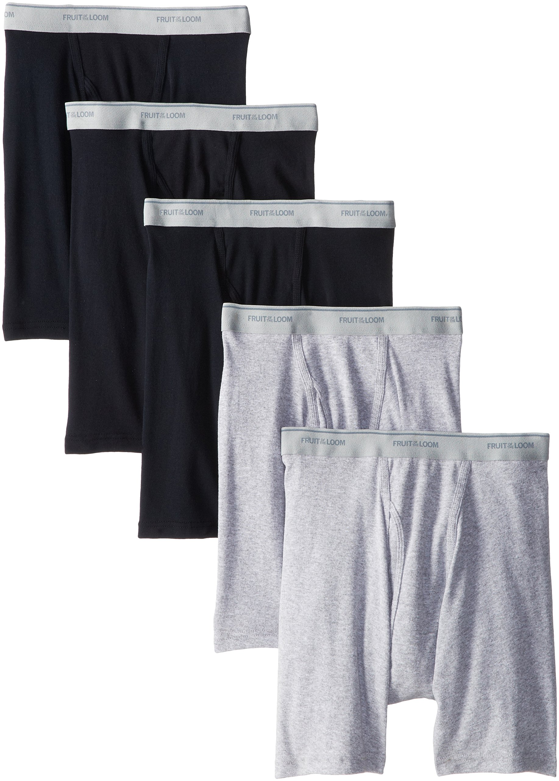 Fruit of the Loom Men's Boxer Brief, Black/Gray, Large(Pack of 5)