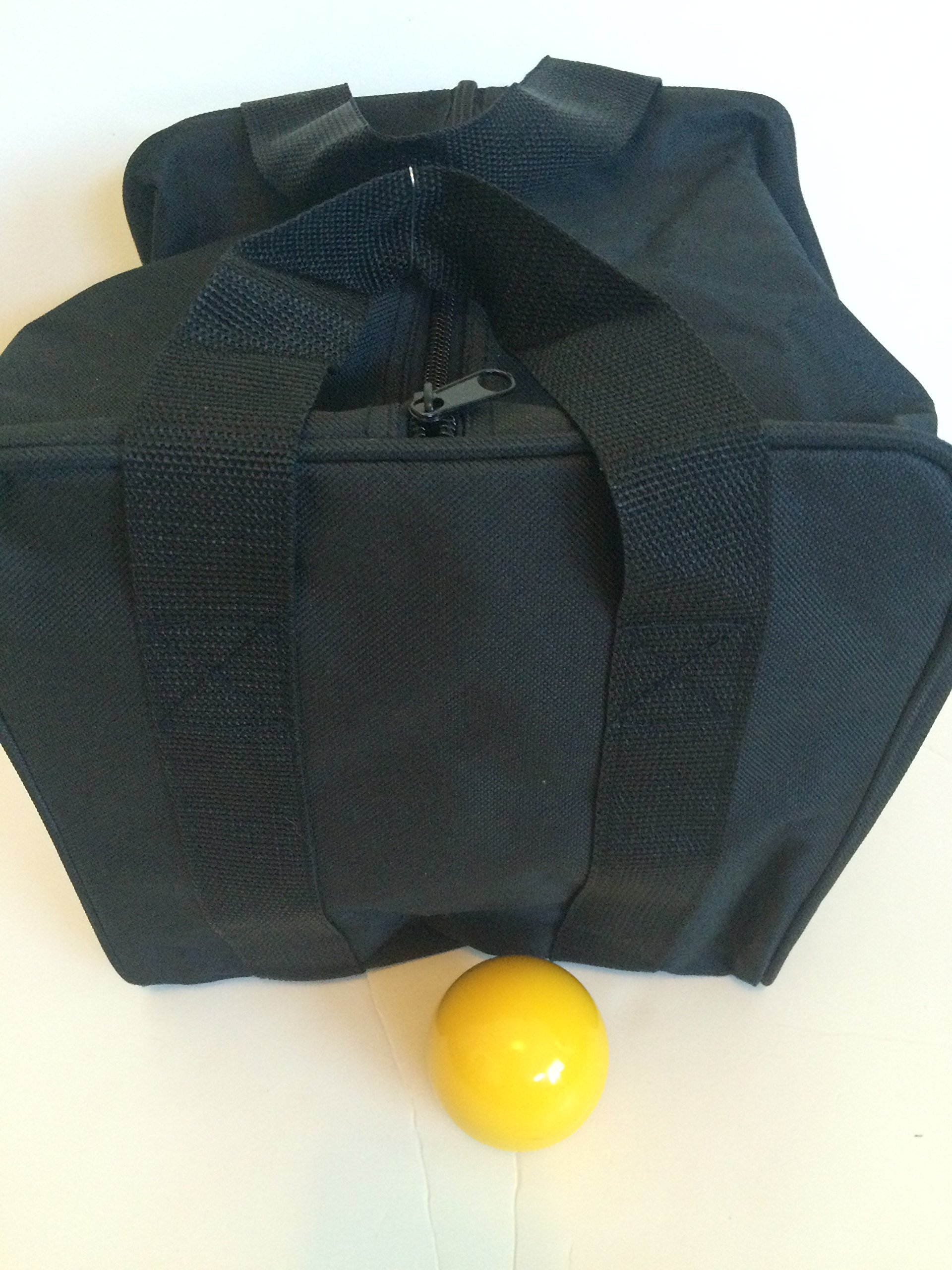 Unique Bocce Accessories Package - Extra Heavy Duty Nylon Bocce Bag (Black with Black Handles) and yellow pallina