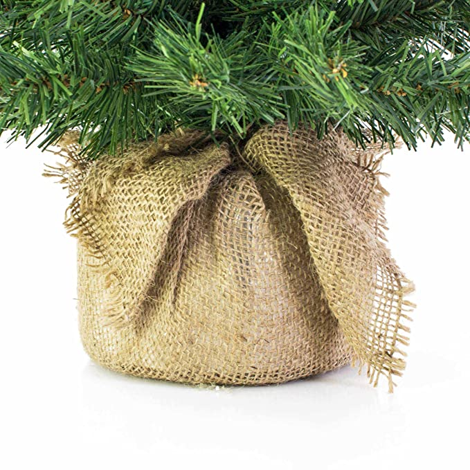 Mini árbol de navidad VARSOVIA, LED, rojo, saco de yute, 60 ...