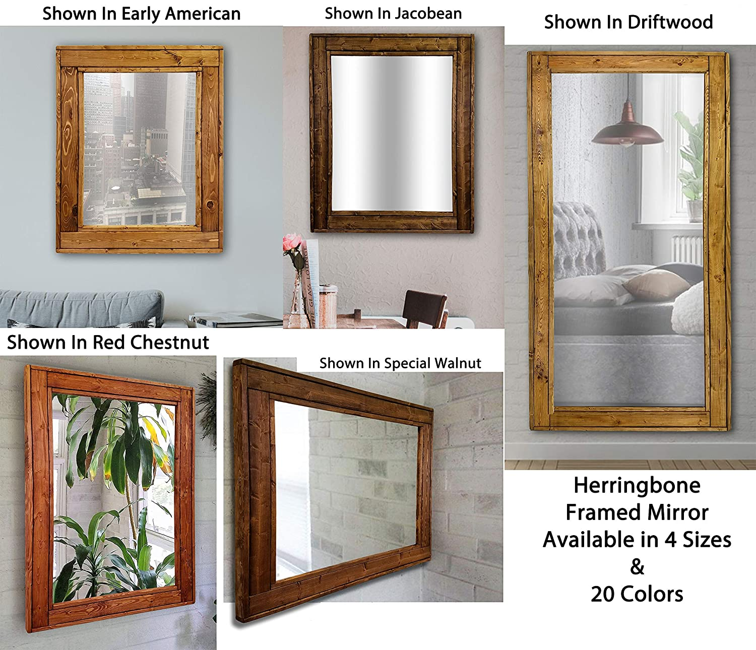 6e1b42381a96 ... Available in 4 Sizes and 20 Stain colors  Shown in Early American -  Large Framed Mirror - Wall Mirror Decorative - Home Decor Accents