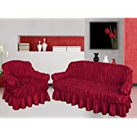 NAKUK HOME COLLECTION Sofa Cover 3 2 1 Seater Jacquard - Universal Elastic Fitting (3 Seater, RED WINE)