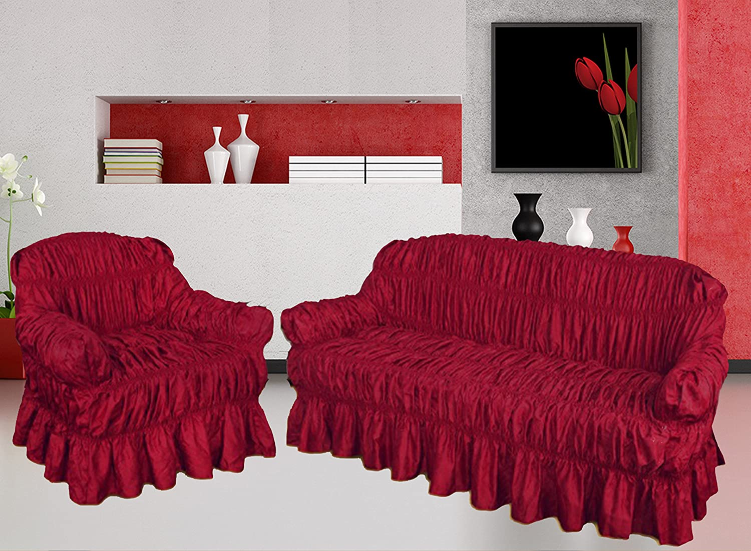 NAKUK HOME COLLECTION Sofa Cover 3 2 1 Seater Jacquard - Universal Elastic Fitting (3 Seater, RED WINE) HOME COMFORTS