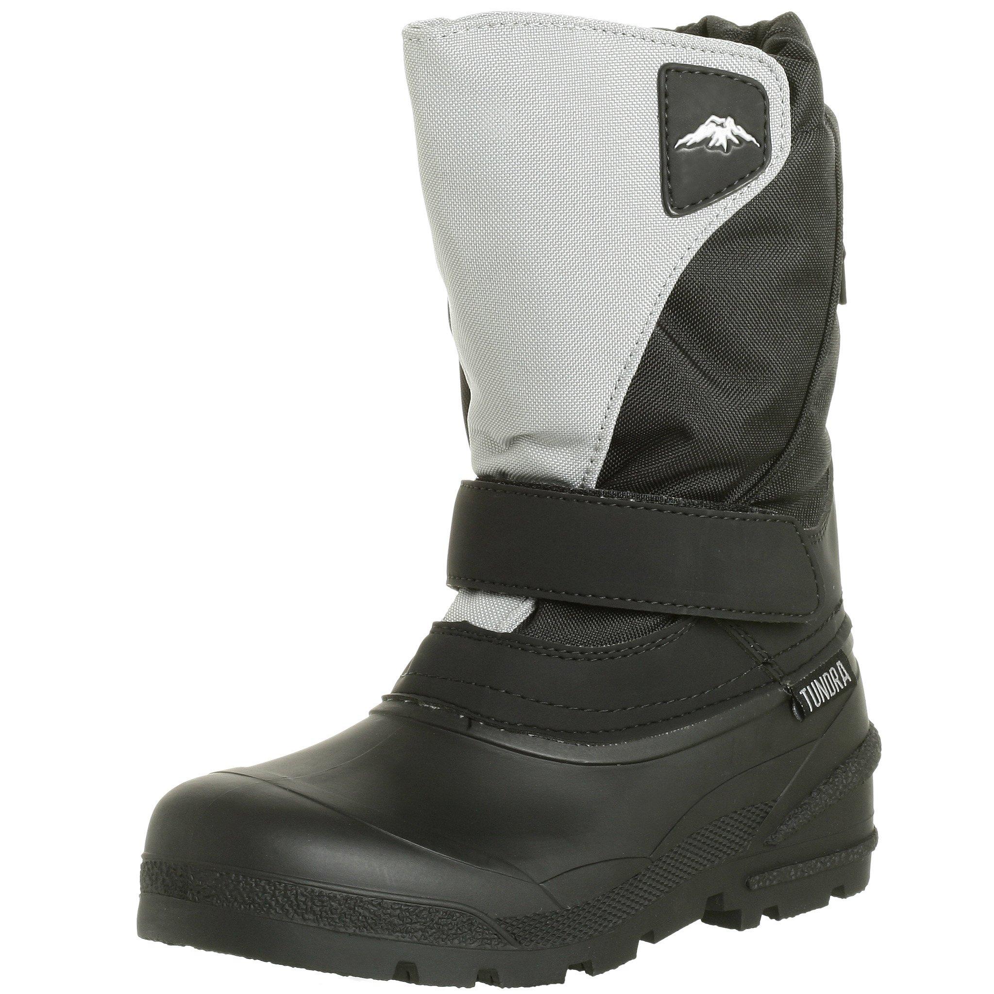 Tundra Quebec Child Winter Boots, Black/Grey, 4 M US Big Kid