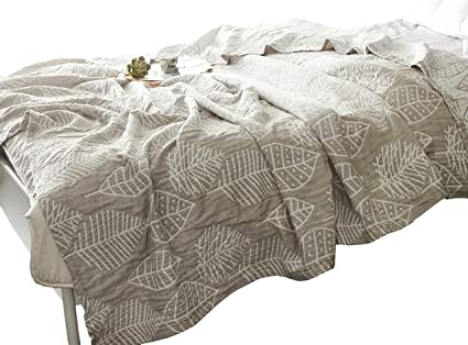 1e156c6f1b MEJU Grey Leaves Muslin Lightweight Summer Blanket Full for Bed Sofa Couch