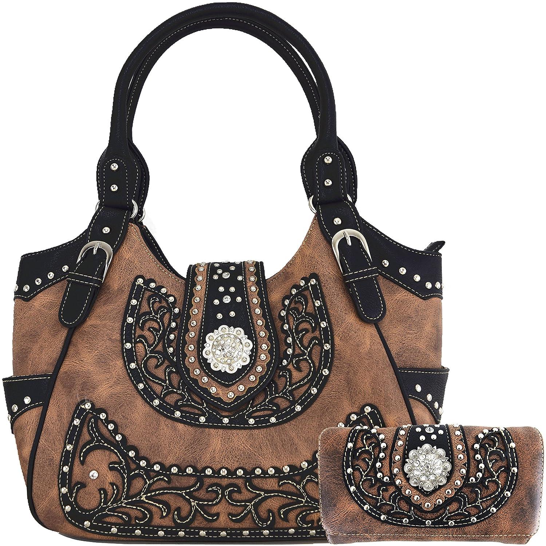 Cowgirl Western 2017 Concealed Carry Belts Country Purse Handbag Messenger Shoulder Bag Wallet Set Brown