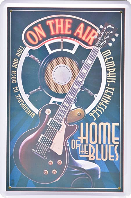 Pared Cartel metal Cartel Guitarra Home of the Blues Retro ...
