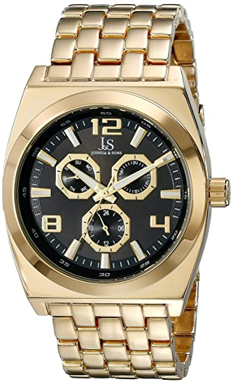 Amazon.com: Joshua & Sons Mens JS93 Multifunction Quartz Watch with Accented Stainless Steal Bracelet (Gold/Black): Watches