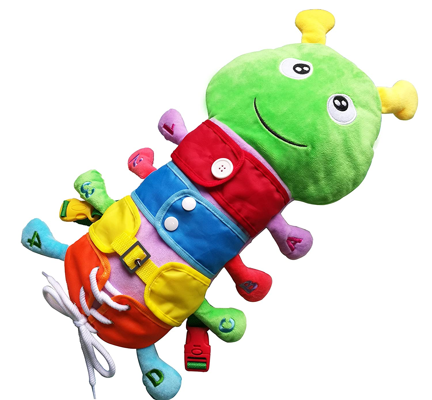 Yoovi Montessori Learn to Dress Zip Snap Button Buckle Lace Caterpillar Plush Toys for Kids Early Learning Basic Life Skills Toys Houyue