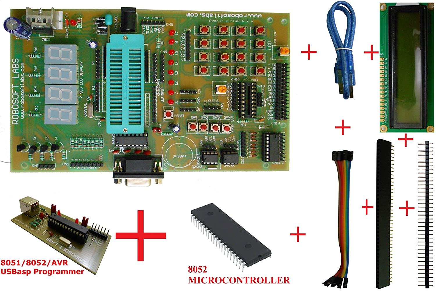 Buy Robosoft Labs 8051 8052 Board With At89s52 Max232 Rtc Interfacing Relay Pic Microcontroller Using Uln2003 At24c32 Uln Ic Lcd Programmer Online At Low Prices In India