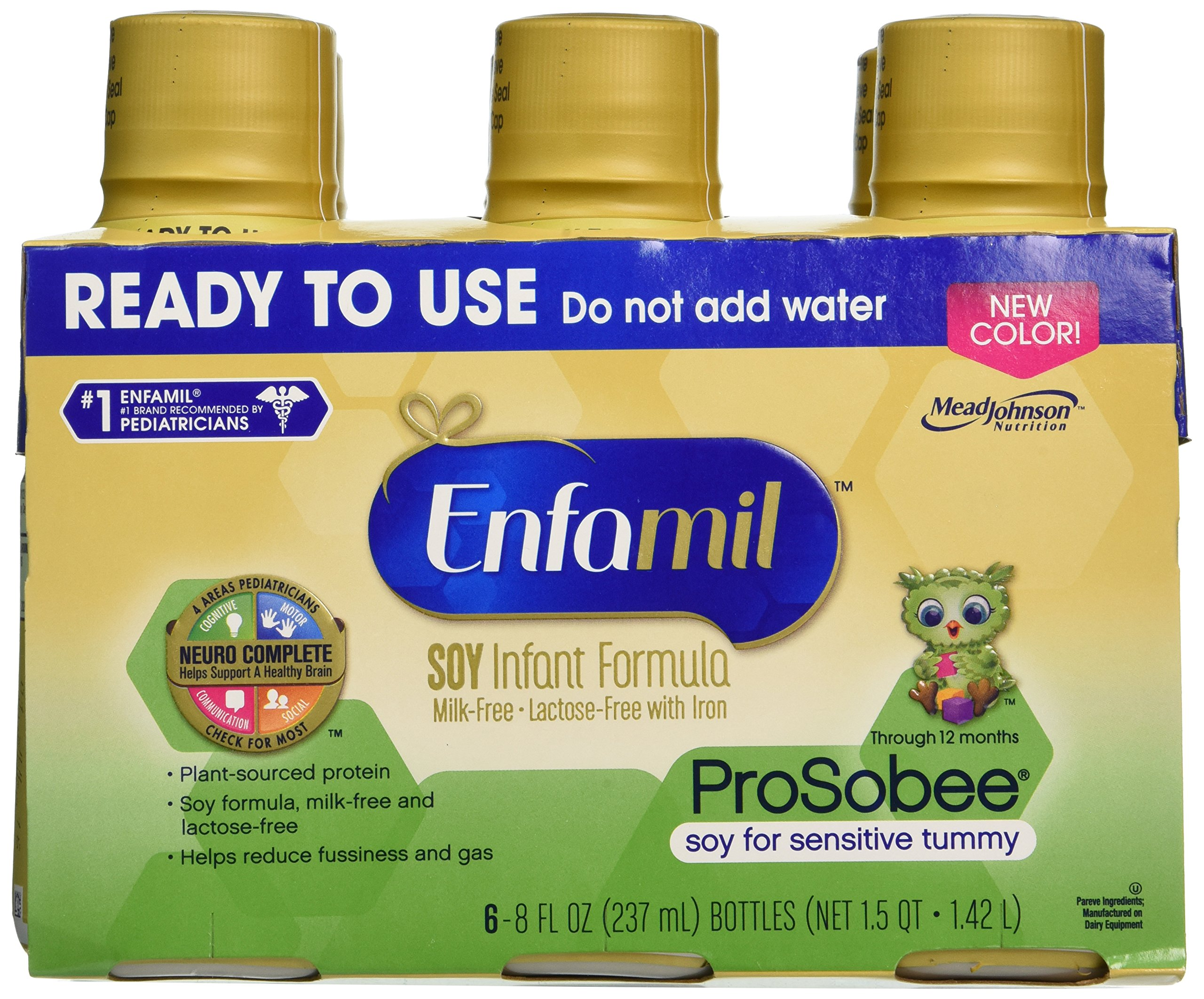 Enfamil ProSobee Soy Sensitive Baby Formula, Dairy-Free Lactose Free Plant Protein Milk Powder, 8  fluid ounce (24 count) - Omega 3 DHA, Iron, Immune & Brain Support by Enfamil (Image #2)