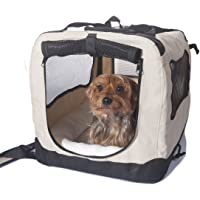 2PET Folding Soft Dog Crate for indoor, travel, training for pets up to 15 lbs Small 20 Inches Beige