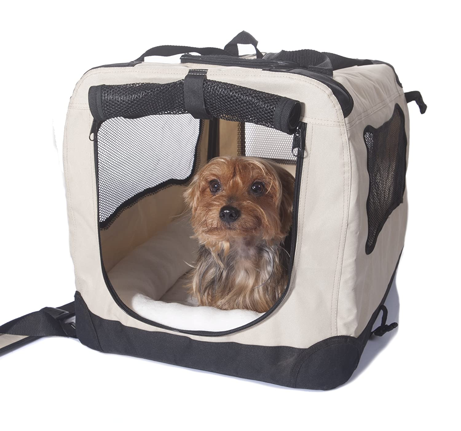 Biscuit Beige Small 20in Biscuit Beige Small 20in 2PET Folding Soft Dog Crate for Indoor, Travel, Training for Pets up to 15 lbs Small 20 Inches Beige