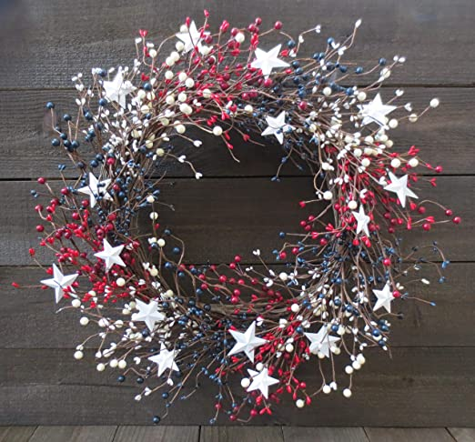 """Patriotic 4th of July memorial Wreath Door Decor 22/"""" Mesh red white and blue USA"""