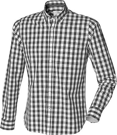 Front Row - Camisa 100% algodón manga larga Casual Diseño a cuadros Hombre hombre caballero - Trabajo/Fiesta/Boda