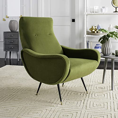 Safavieh Home Elicia Mid-Century Retro Olive Green Velvet Accent Chair