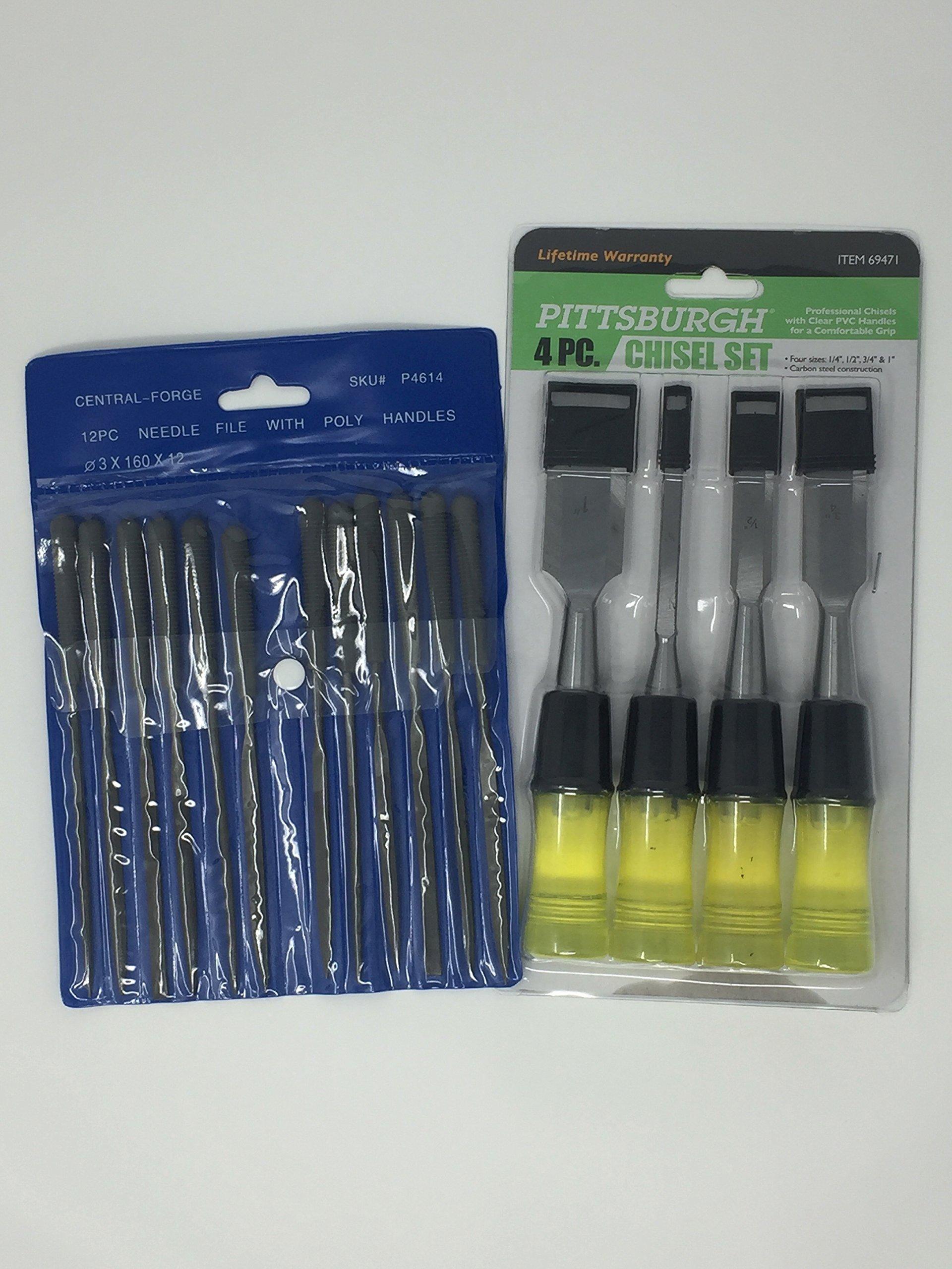Precision Needle File Set With 4 Piece Chisel Set Bundle