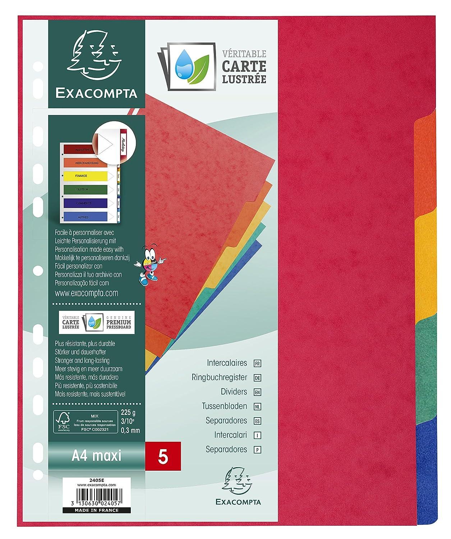 Exacompta 2406E Register 1 St/ück Packung mit 6 farbigen Taben, Blanco, DIN A4 Maxi, Manila-Karton