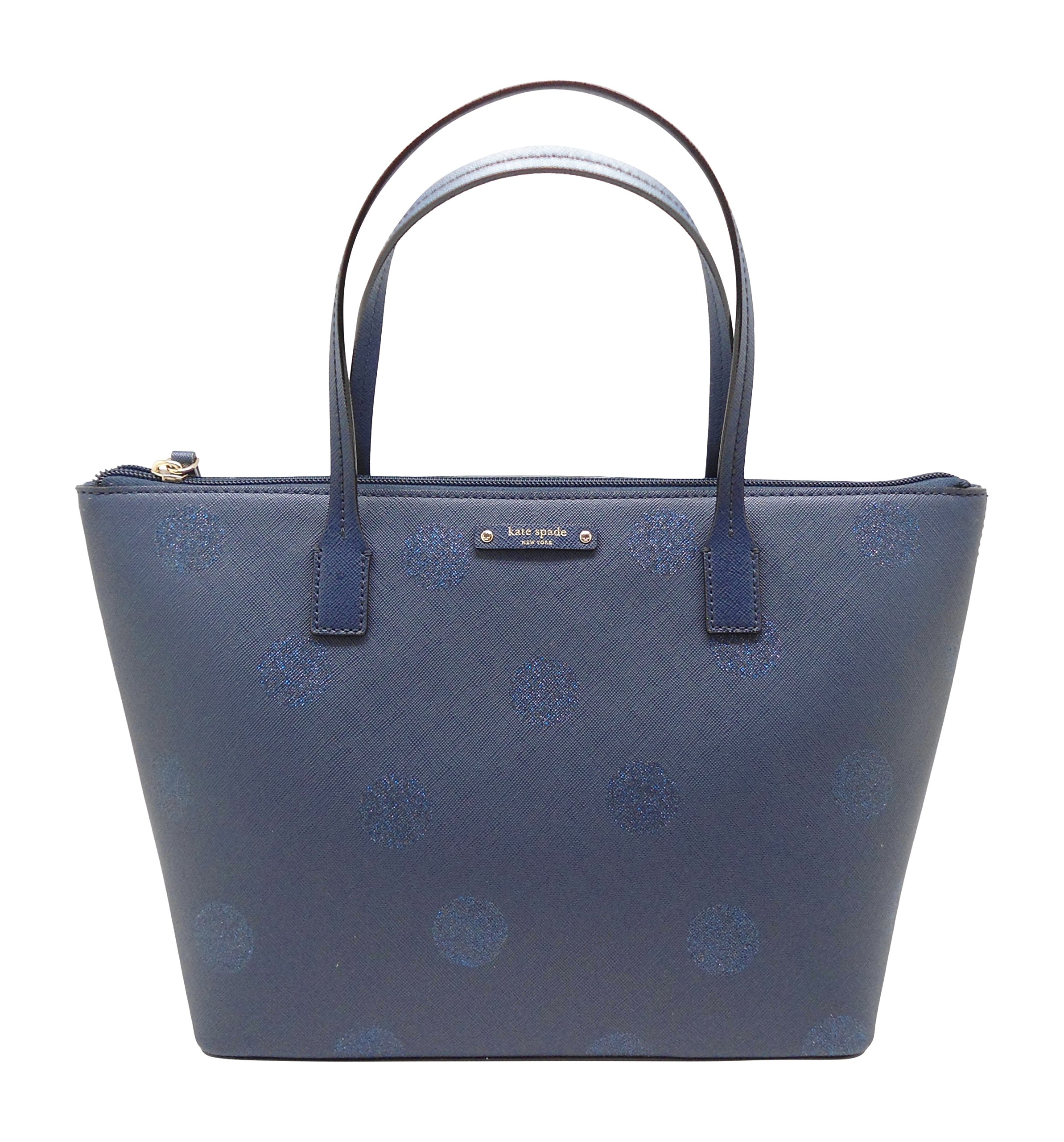 Kate Spade Hani Haven Lane Tote French Navy Glitter Polka Dot Handbag