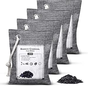 WGCC Bamboo Charcoal Air Purifying Bag 4 Pack Activated Charcoal Bags Odor Absorber 4x200g Nature Fresh Air Purifier Bags Smoke/Shoe/Pet Odor Eliminator