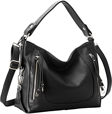 Amazon.com  Heshe PU Leather Women s Handbags Shoulder Bag Tote Top Handle Bag  Hobo Ladies Designer Purse Satchel Bags Crossbody Bag (Black)  Shoes 9a680af5e5220