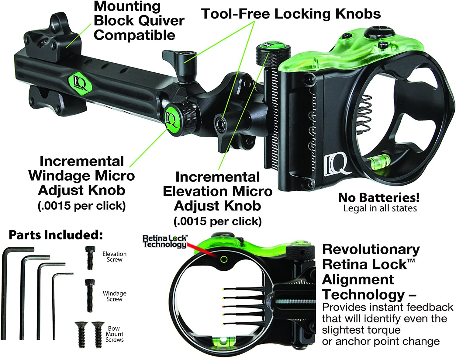 Left and Right Hand 5 or 7 Pin Compound Bow Archery Sight with Retina Lock Technology IQ Bowsights Micro 3