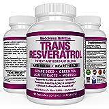 Resveratrol Supplements 1300mg Grape Seed Extract Capsules - 50% Pure Trans-Resveratrol Standardization – 60 Veggie Capsules – BioScience Nutrition