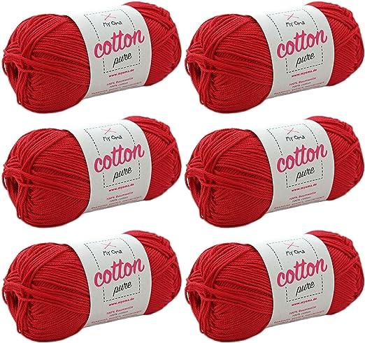 MyOma Cotton Pure - Ovillo de hilo de algodón para hacer punto y ...