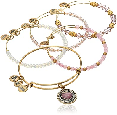 9b7d7b272378cf Amazon.com: Alex and Ani I Love You Mom Set of Five Rafaelian Gold Bangle  Bracelet: Jewelry