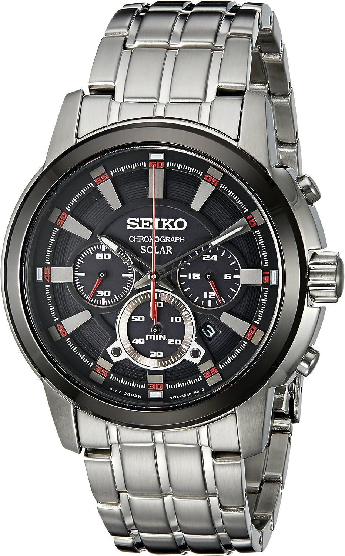 Seiko Men s SSC389 Solar Chrono Analog Display Japanese Quartz Silver Watch