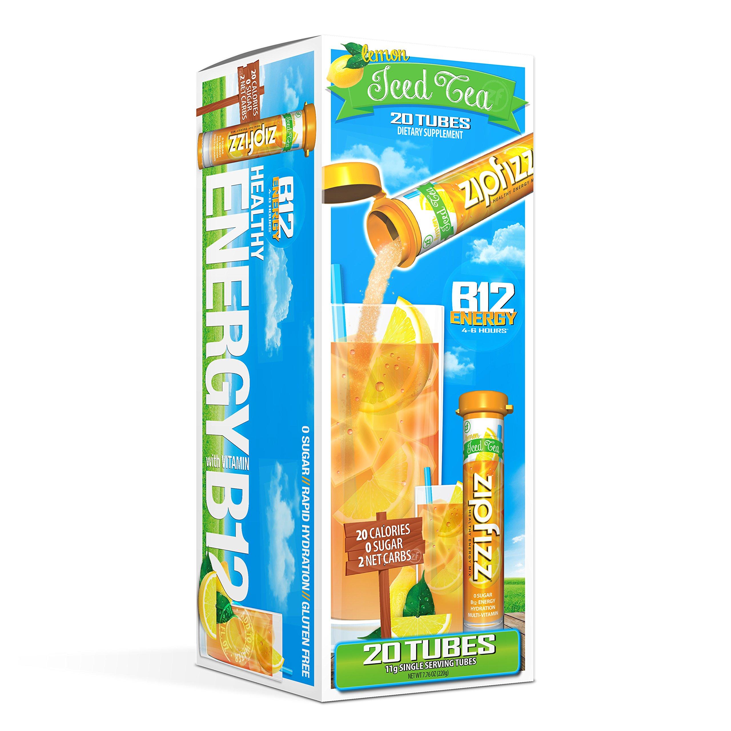 Zipfizz Healthy Energy Drink Mix, Lemon Iced Tea, 20 Count