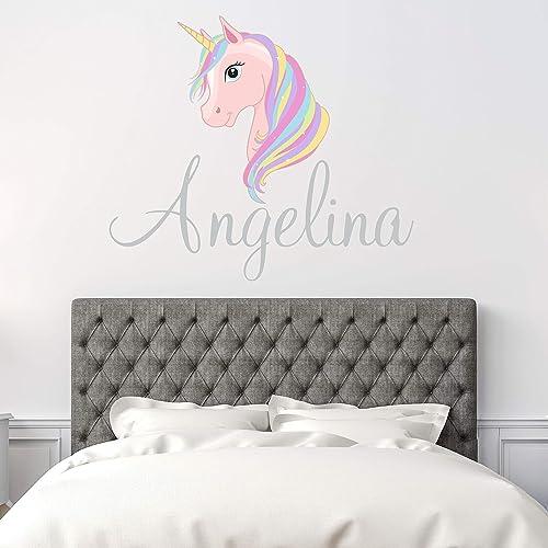 Kids Unicorn Decal Vinyl Wall Decal Custom Name Decal Unicorn Wall Decal