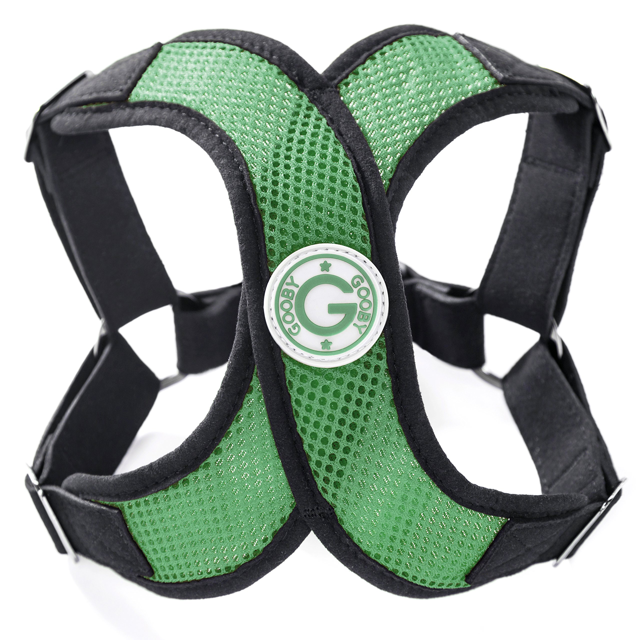 Gooby - X Harness, Small Dog Choke Free Step-in Harness with Synthetic Lambskin Soft Strap, Hunter Green, Small by Gooby