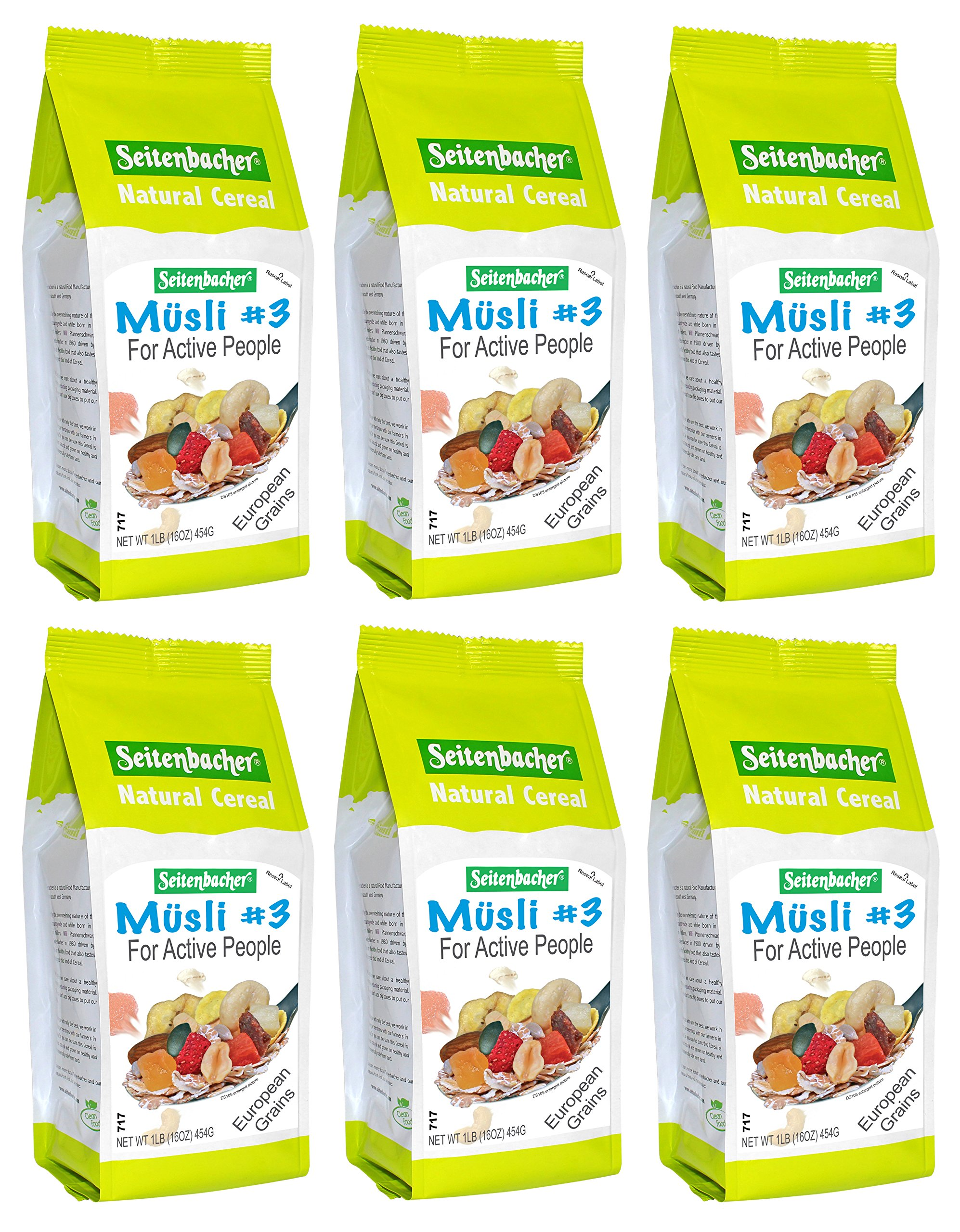Seitenbacher Muesli Cereal #3 – For Active People – Fruit Mix 16 Ounce (Pack of 6)
