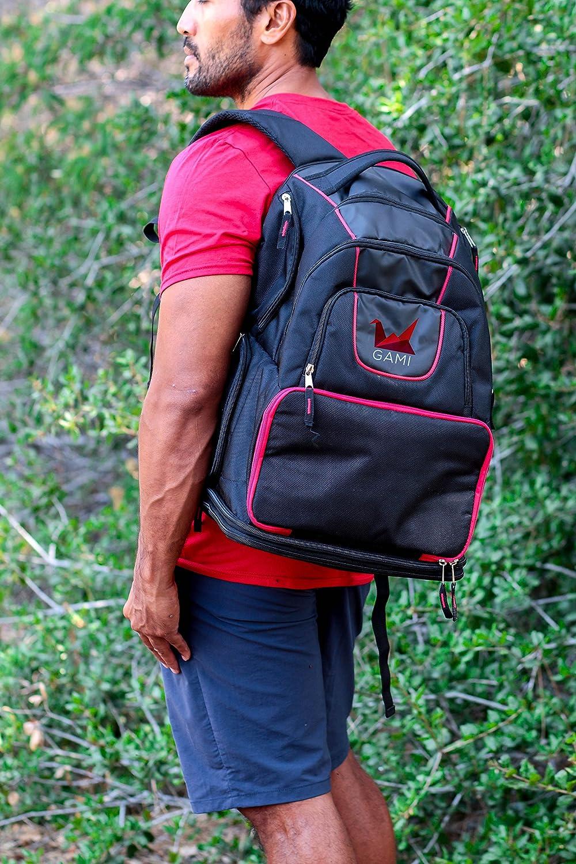 Meal gesti/ón Fitness Nutrici/ón mochila bolsa resistente con forro de Cooler compartimento recipiente m/últiples con ventilaci/ón y bolsillos de almacenamiento negro y rojo