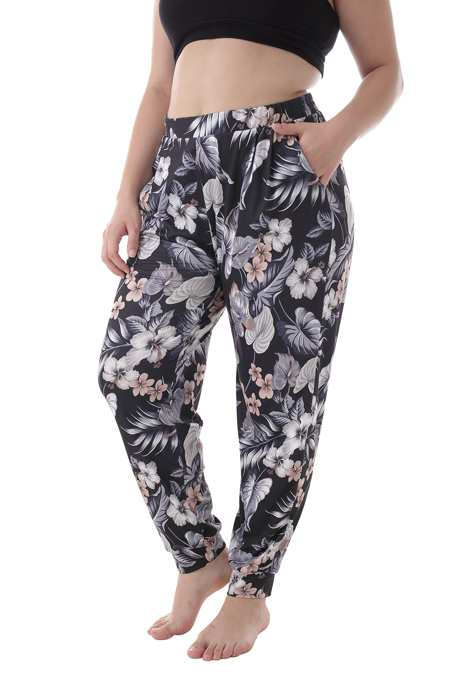 ZERDOCEAN Women's Plus Size Casual Stretchy Relaxed Long Lounge Pants with 2 Pockets 808 4X