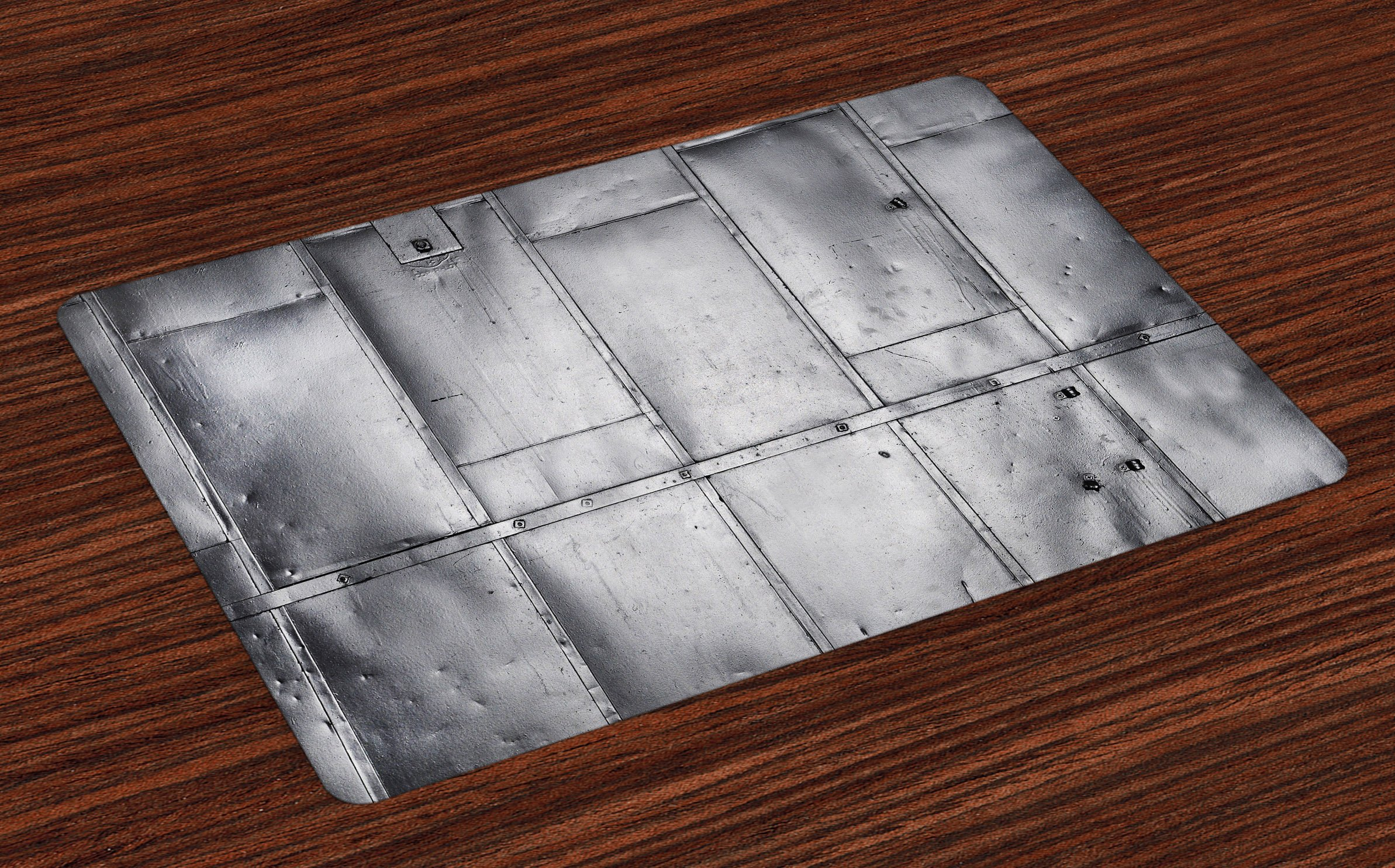 Ambesonne Industrial Place Mats Set of 4, Steel Panels Industrial Wall Theme Aluminum Background Futuristic Engineering Print, Washable Fabric Placemats for Dining Room Kitchen Table Decor, Silver