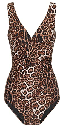 Wild Ladies Slimming Swimming Costume With Tummy Control Leopard