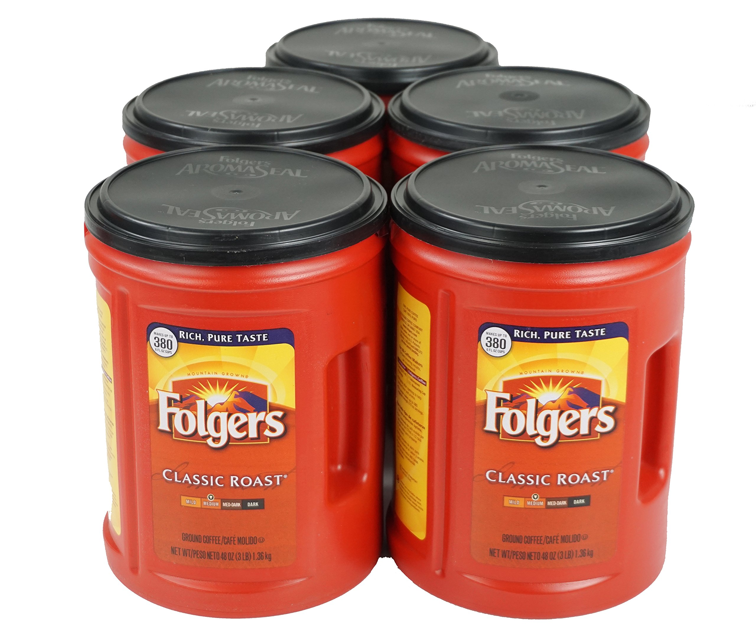 Folgers Classic Medium Roast Coffee, 5-Pack of 48 Ounce Cans