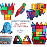 GIFT EQUALS LOVE Magnetic Tiles 64 Pieces of Building 3D Sets, Constructing and Creative Learning Educational Next Generation Multicolor Toy for Kids