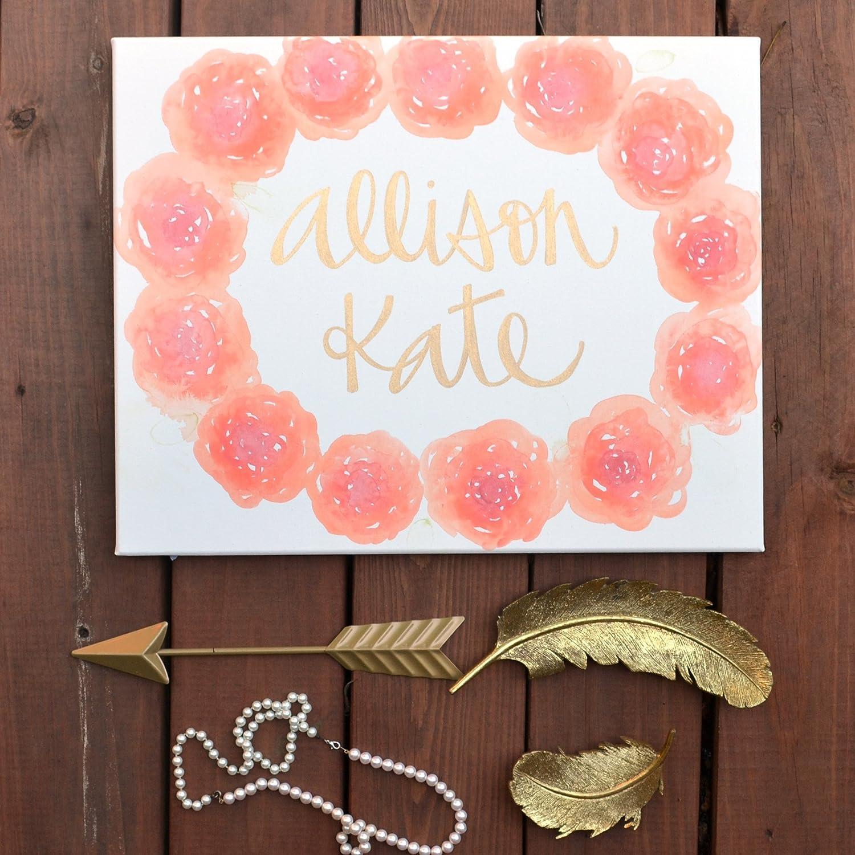 Amazon Com Custom Baby Name Floral Watercolor Nursery Art Canvas