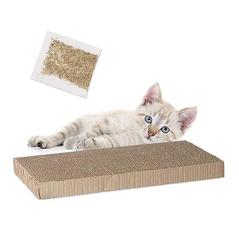 Relaxdays rascador para Gatos de cartón Rectangular con Hierba gatera, marrón, 4 x 45