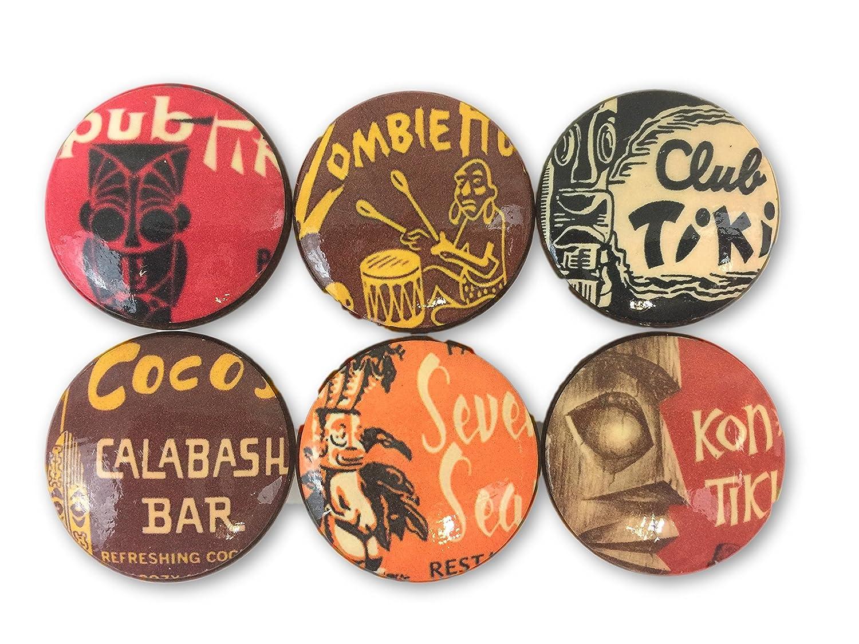 Set of 6 Tiki Bar Print Wood Cabinet Knobs