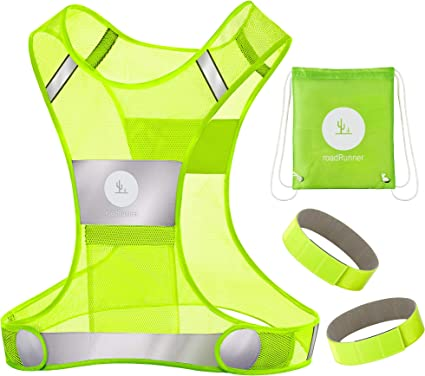 RoadRunner 360° Reflective Vest for Men and Women – Visibility Vest with Pocket, Bands, and Bag for Night Running, Motorcycle, Walking, and Cycling