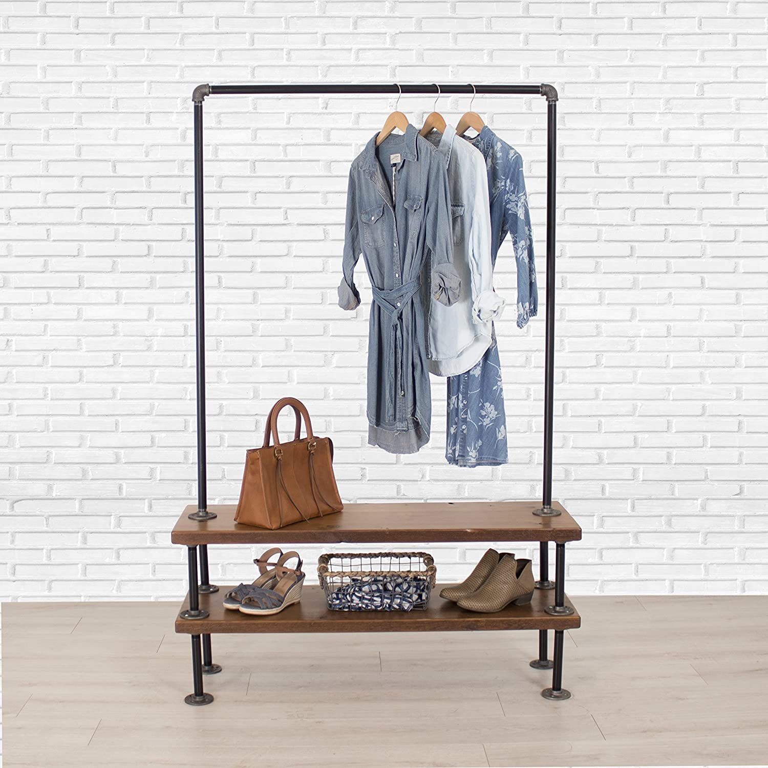 Industrial Pipe Clothing Rack with Cedar Wood Shelves by William Robert's Vintage