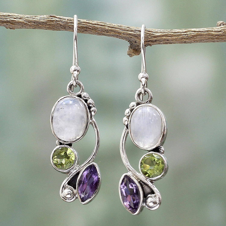 NOVICA Peridot Amethyst Rainbow Moonstone .925 Sterling Silver Dangle Earrings, Natural Glamour